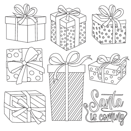 Outline Christmas gift boxes collection for coloring Illustration