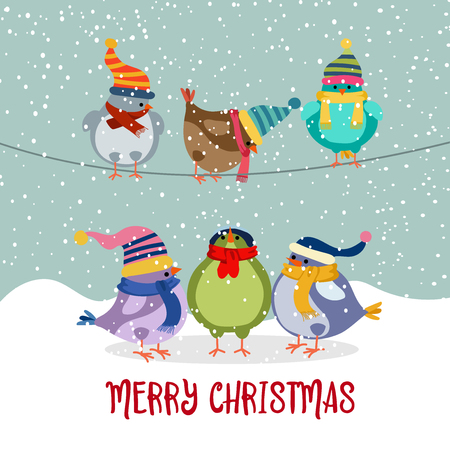 Cute Christmas card with birds. Flat design. Vector