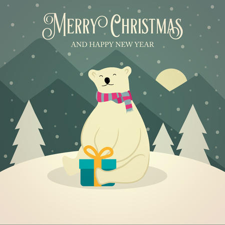 Beautiful retro Christmas card with polar bear and gift box. Flat design. Vector
