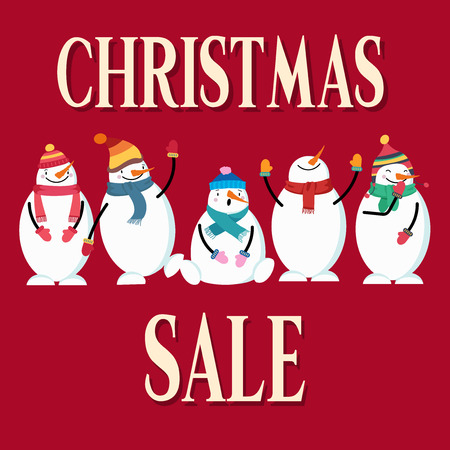 Christmas sale poster with snowman. Flat design. Vector