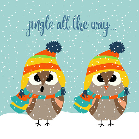 Cute Christmas card with owls singing carols. Christmas poster. Vector