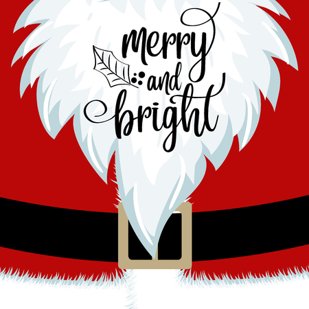 Christmas card with Santa beard and costume. Flat design. Wishes. 向量圖像