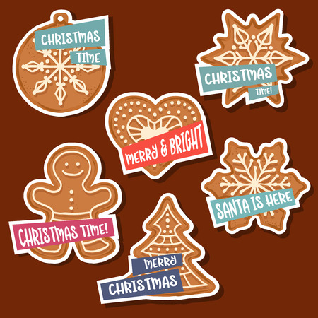Christmas stickers collection with Christmas gingerbread and wishes. Isolated elements. Flat design Illustration