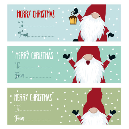 Cute flat design Christmas labels collection with gnomes for presents. Vector. Scandimavian Christmas