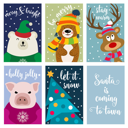 Christmas card collection with animals and wishes. Labels. Stickers. Flat design