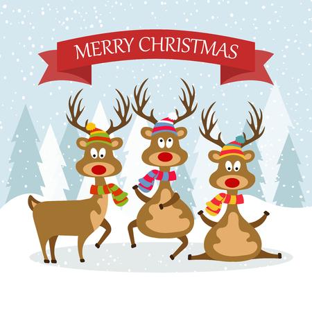 Hermosa tarjeta de Navidad de diseño plano con renos. Cartel de navidad. Vector