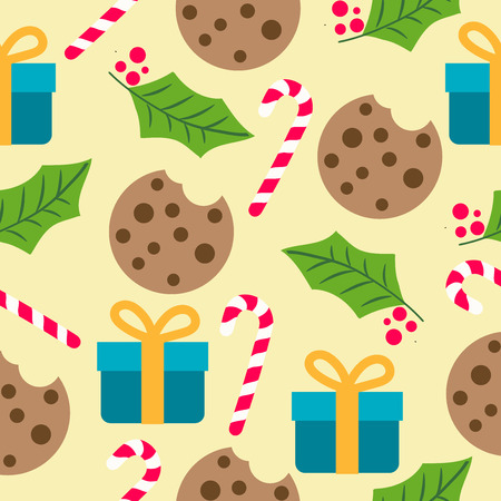 Christmas seamless pattern with presents, candy cans and mistletoe  for Christmas background,  wrapping paper, print. Vector