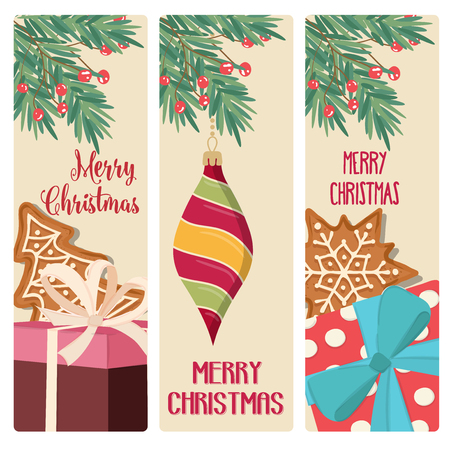 Christmas card collection. Christmas stickers. Flat design 向量圖像