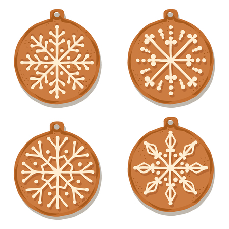 Realistic gingerbread Christmas balls collection isolated on white background. Christmas gingerbread. Vector