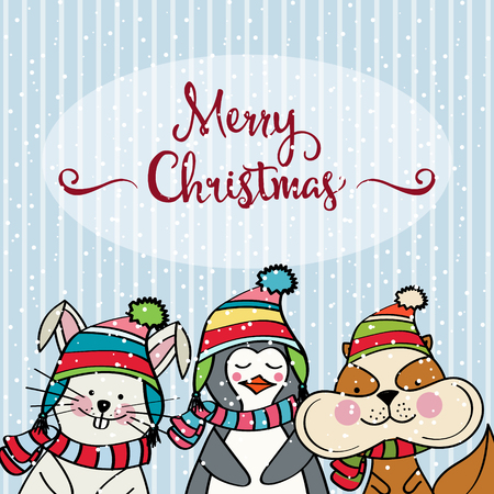 Doodle Christmas card with funny dressed animals, pengun, bunny and squirrel Illustration