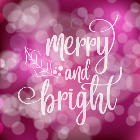 Merry Christmas and Happy New Year post card with lights. Vector