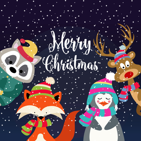 Christmas card with cute dressed animals and wishes. Flat design. Vector 스톡 콘텐츠 - 127294515