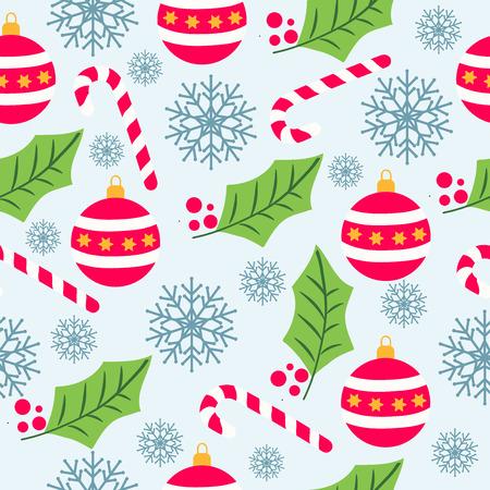 Modello senza cuciture di Natale con fiocchi di neve, bastoncini di zucchero, globi e vischio per sfondo natalizio, carta da imballaggio, stampa. Vettore