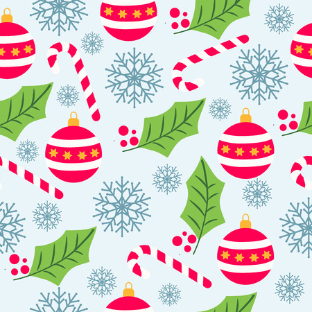 Weihnachtsnahtloses Muster mit Schneeflocken, Zuckerstangen, Kugeln und Mistel für Weihnachtshintergrund, Packpapier, Druck. Vektor