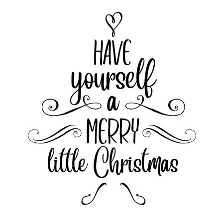 Passez un joyeux petit Noël. Citation de Noël. Typographie noire pour la conception, l'affiche, l'impression de cartes de Noël