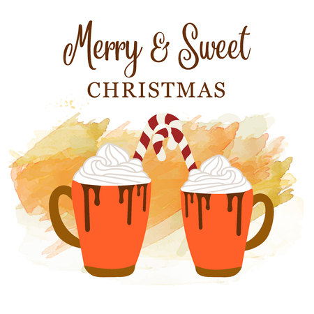 Cute Christmas card with hot chocolate and candy cane. Love and sweet Christmas poater, vector