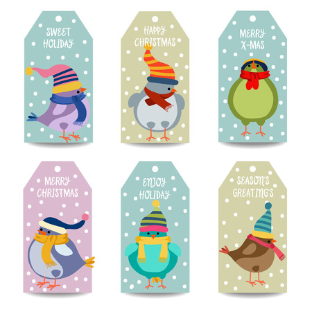 Christmas labels collection with birds, isolated items on white background. Vector 向量圖像