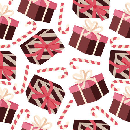 Christmas seamless pattern with gift boxes. Christmas background 向量圖像