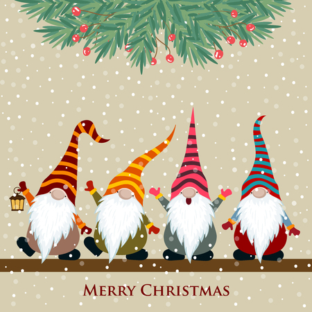 Christmas card with gnomes, Flat design. Vector Vectores