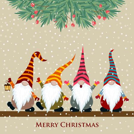 Weihnachtskarte mit Gnomen, flaches Design. Vektor
