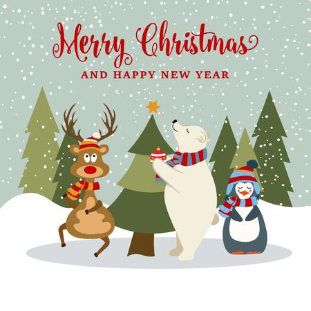 Hermosa tarjeta de Navidad de diseño plano con renos, pingüinos y osos polares. Cartel de navidad. Vector