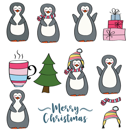 Doodle Christmas items collection isolated on white background, eps10