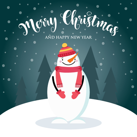 Christmas card with cute snowman and wishes. Flat design. Vector