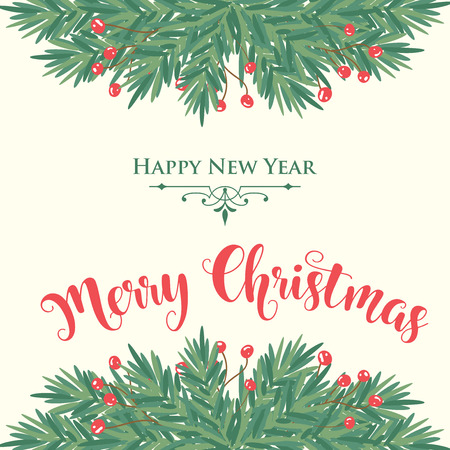Christmas card with tree branches and wishes. Flat design. Vector 向量圖像