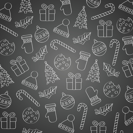 Blackboard Christmas background with various elements. Flat design. Vector