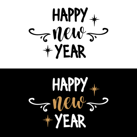 Happy new year. Christmas quote. Black typography for Christmas cards design, poster, print