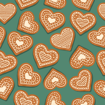 Festive Christmas seamless pattern with gingerbread hearts on green background. Vector