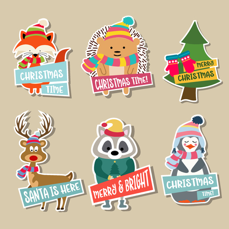 Christmas stickers collection with cute animals and wishes. Flat design 向量圖像