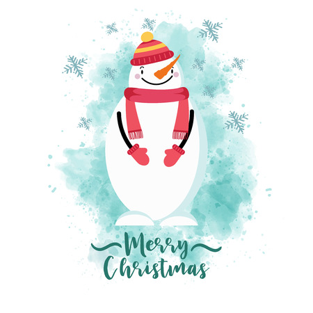 Christmas card with dressed snowman, eps10