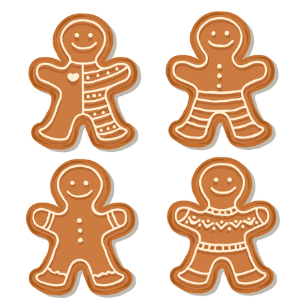Realistic gingerbread men collection isolated on white background. Christmas gingerbread. Vector 向量圖像