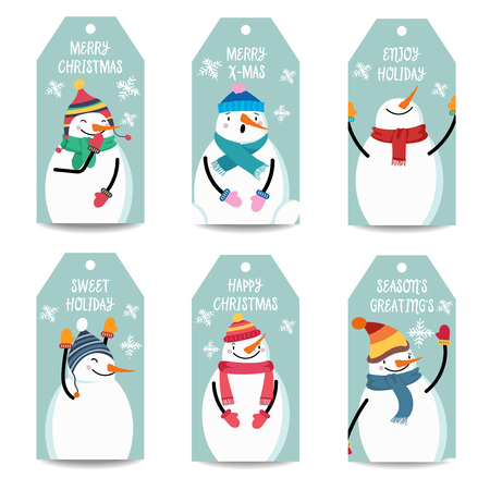 Christmas labels collection with snowman, isolated items on white background, eps10