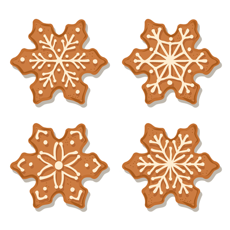 Realistic gingerbread flowers collection isolated on white background. Christmas gingerbread. Vector