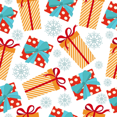 Christmas seamless pattern with gift boxes. Christmas background Vectores