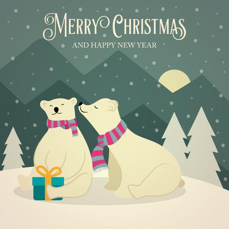 Beautiful flat design retro Christmas card with polar bears couple. Flat design. Vector