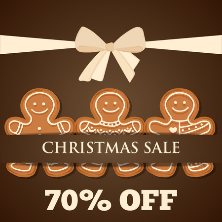 Christmas sale poster with gingerbread man. Christmas advertising.