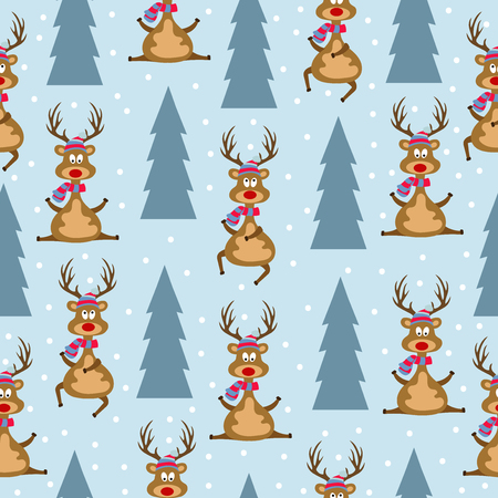 Christmas seamless pattern with Christmas reindeers and Christmas trees for Christmas background,  wrapping paper, print. Vector