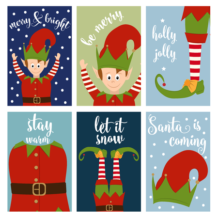 Christmas card collection with elves. Labels. Stickers. Flat design