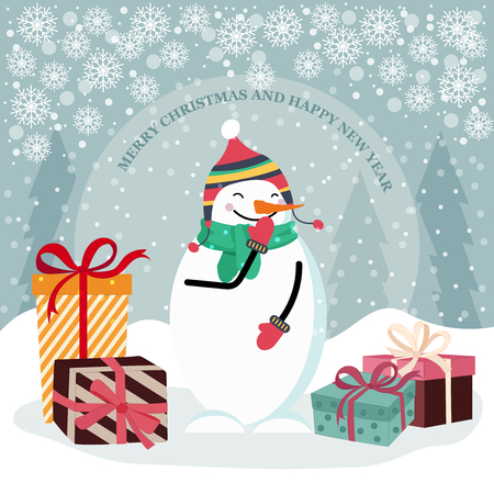 Christmas card with snowman and gift boxes. Flat design. Vector