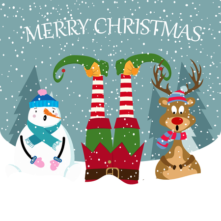 funny Christmas card with elf, snowman and reindeer. Christmas poster. Vector
