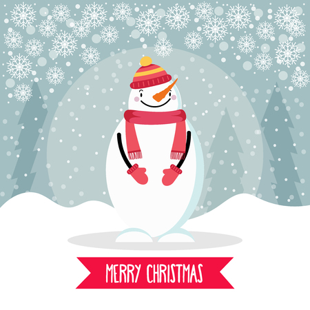 Beautiful flat design Christmas card with snowman. Christmas poster. Vector