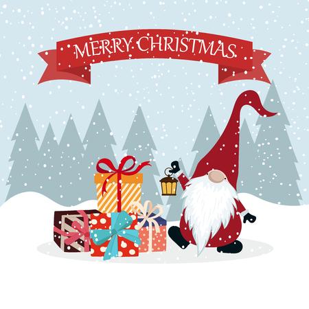 Cartolina di Natale con gnomo e scatole regalo. Design piatto. Natale scandinavo Vettoriali