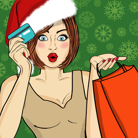Santa Girl  with bags and credit card. Pop art illustration Stock Vector - 121667188