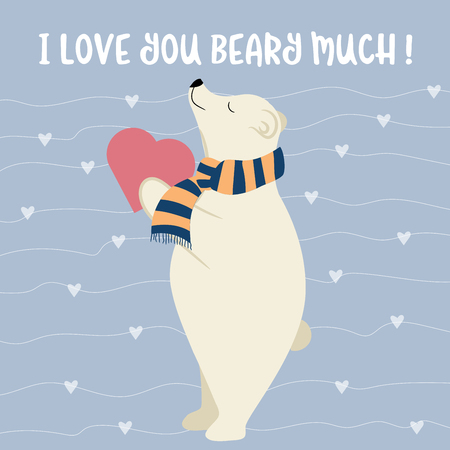 Funny Valentines day card with polar bear. Flat design