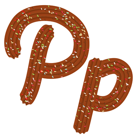 Tempting tipography. Font design. Icing letter. Sweet 3D letter  P of the chocolate cream and candy. Vector