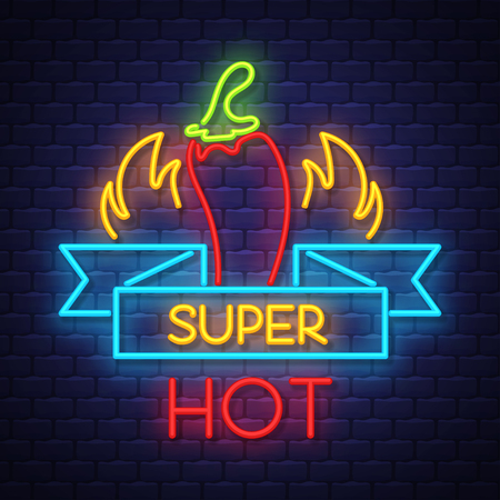 Super hot pepper- Neon Sign Vector. Super hot pepper -  Badge in neon style on brick wall background, design element, light banner, announcement neon signboard, night advensing. Vector Illustration Stock Vector - 121667193