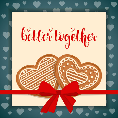 Sweet love card with gingerbread hearts Stock Vector - 121667196